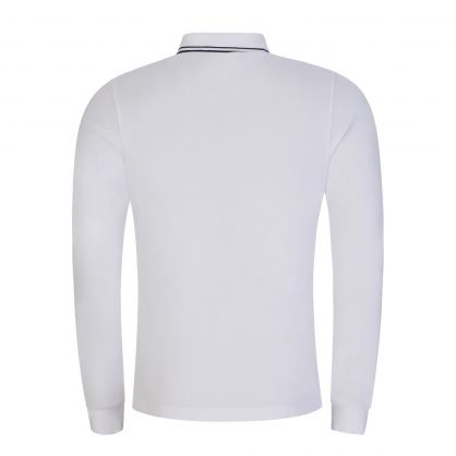 White Long-Sleeve Compass Patch Polo Shirt