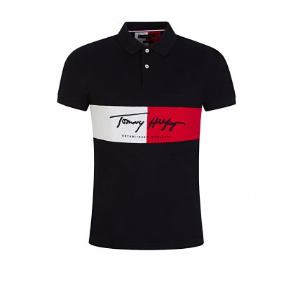 Navy Slim-Fit Autograph Flag Polo Shirt
