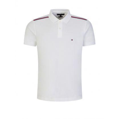 White RWB Shoulder Detail Polo Shirt
