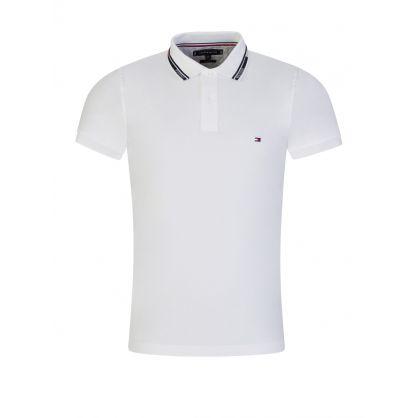 White Slim-Fit 1985 Logo Collar Polo Shirt