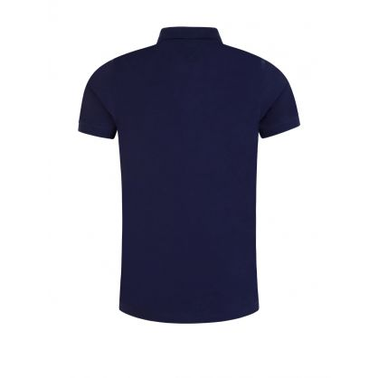 Navy Slim-Fit Tipped Zip Polo Shirt