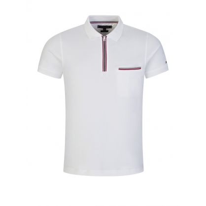 White Slim-Fit Tipped Zip Polo Shirt