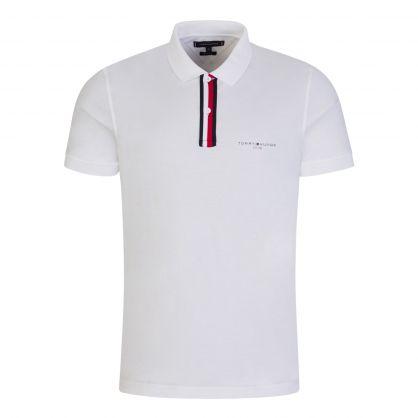 White Stripe Placket Jersey Polo Shirt