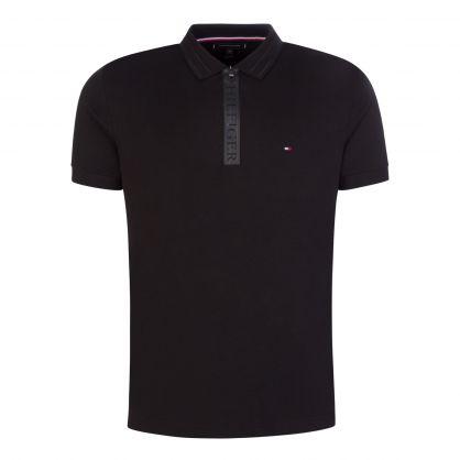 Black Zip Interlock Polo Shirt