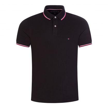 Black Slim-Fit Organic Cotton Tipped Polo Shirt
