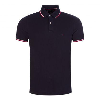 Navy Slim-Fit Organic Cotton Tipped Polo Shirt