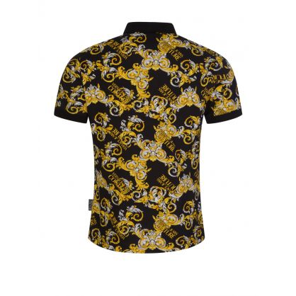 Black Slim-Fit Baroque-Print Polo Shirt