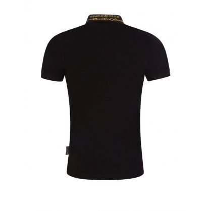 Black Slim-Fit Chain Collar Polo Shirt