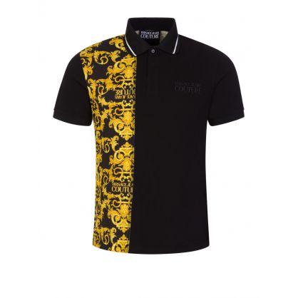 Black Baroque Panel Polo Shirt