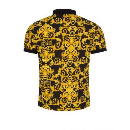Black Allover Baroque Polo Shirt