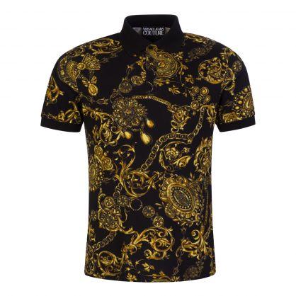 Black/Gold Print Polo Shirt