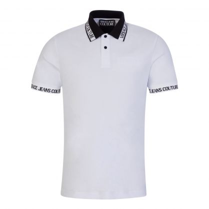 White Jacquard Logo Polo Shirt