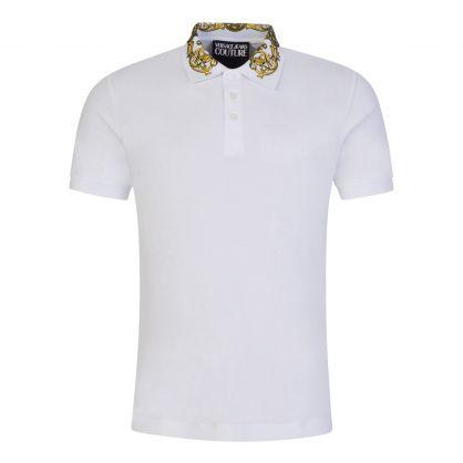 White Baroque-Printed Collar Polo Shirt