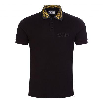 Black Baroque-Printed Collar Polo Shirt