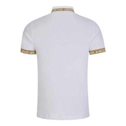 White Gold-Glitter Jacquard Logo Polo Shirt