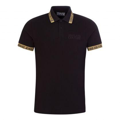 Black Gold-Glitter Jacquard Logo Polo Shirt