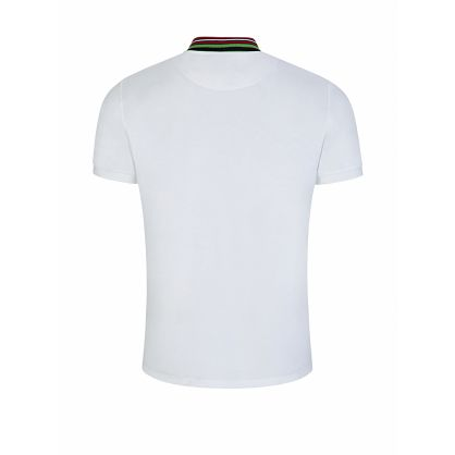 White Striped Collar Polo Shirt