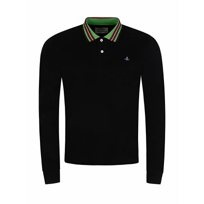 Black Long-Sleeve Striped Collar Polo Shirt