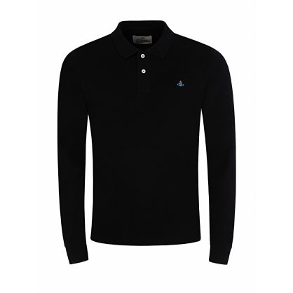 Black Classic Long-Sleeve Polo Shirt