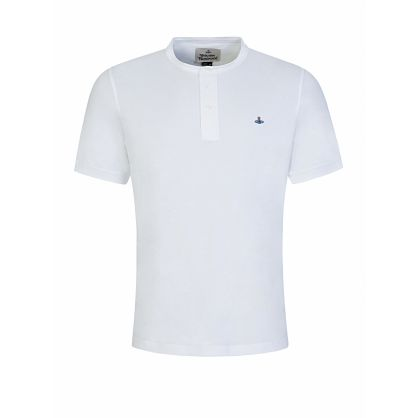 White Classic Grandad Collar Polo Shirt