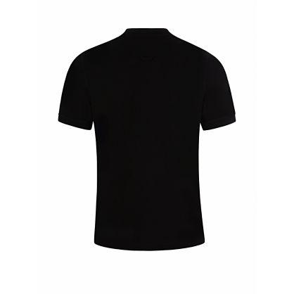 Black Cotton Grandad Collar Polo Shirt