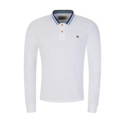 White Stripe Collared Polo Shirt