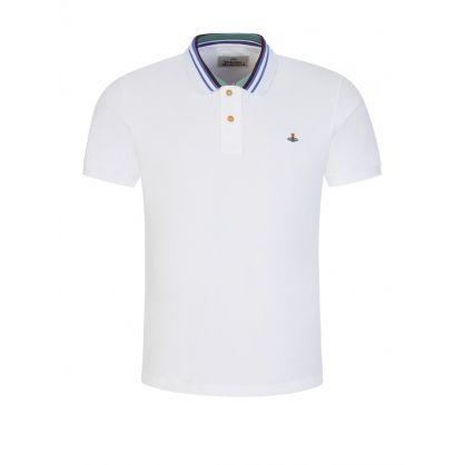White Classic Stripe Collar Polo Shirt