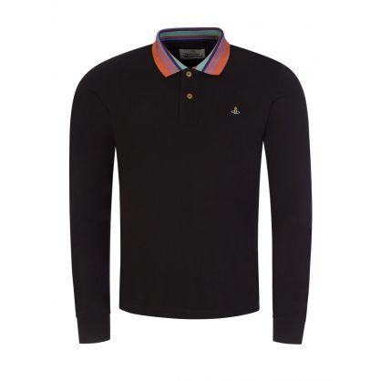 Black Stripe Collared Polo Shirt