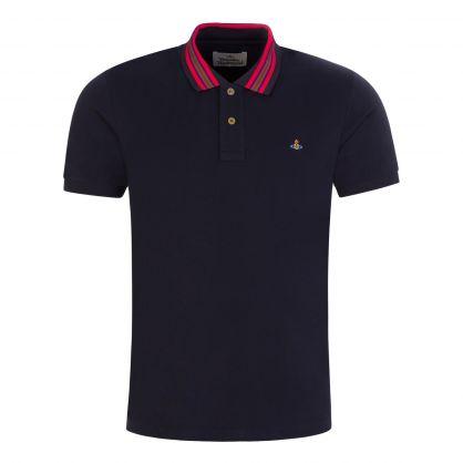 Navy Stripe Collar Classic Polo Shirt