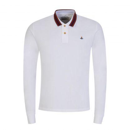 White Long-Sleeve Classic Stripe Collar Polo Shirt