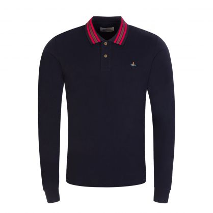 Navy Long-Sleeve Classic Stripe Collar Polo Shirt