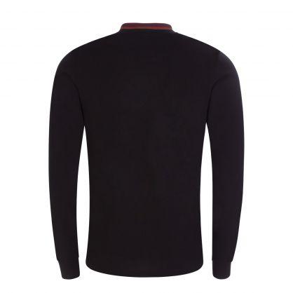 Black Long-Sleeve Classic Stripe Collar Polo Shirt