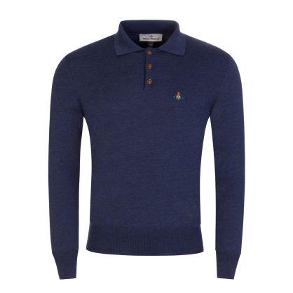 Navy Long-Sleeve Merino Wool Polo Shirt