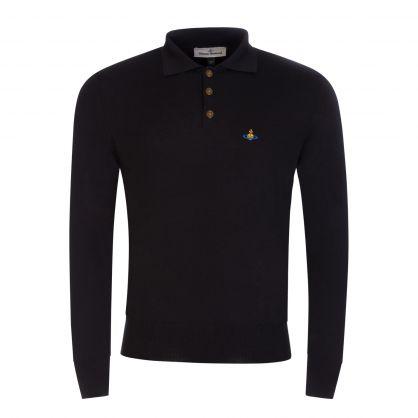 Black Long-Sleeve Merino Wool Polo Shirt