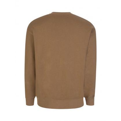Brown Oversized Embroidered Crest Sweatshirt