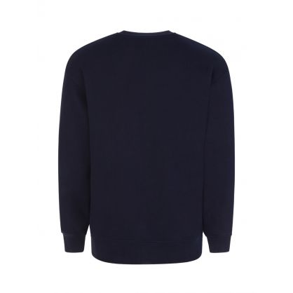 Navy Oversized Embroidered Crest Sweatshirt