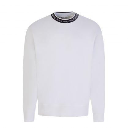 White Logo Jacquard Sweatshirt