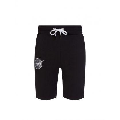 Black NASA Patch Basic Sweat Shorts