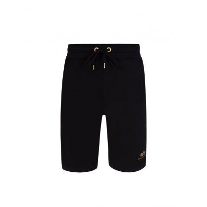 Black Foil Print Basic Sweat Shorts SL