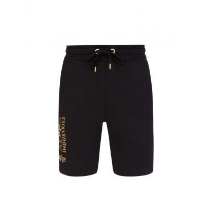 Black Foil-Print Logo Basic Shorts