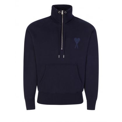 Navy Ami de Coeur  High Zip Fleece Sweatshirt