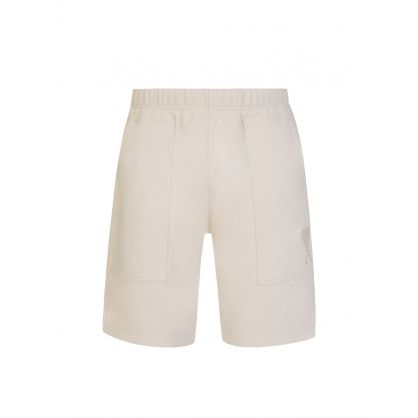 AMI De Coeur Cream Fleece Shorts