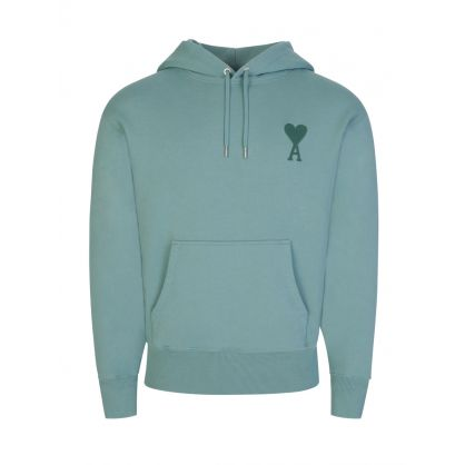 AMI Green Embroidered Logo Fleece Popover Hoodie