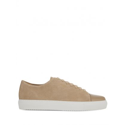 Beige Suede Leather Cap-Toe Trainers