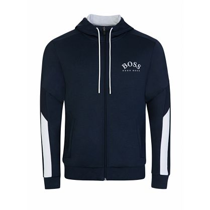 Menswear Navy Saggy Zip-Through Hoodie