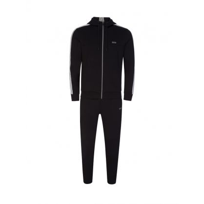Black Athleisure Cotton-Blend Tracksuit Set
