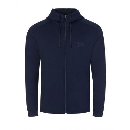 Blue Saggy Athleisure Hooded Zip-Through