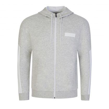Grey Athleisure Saggy Batch Zip-Through Hoodie