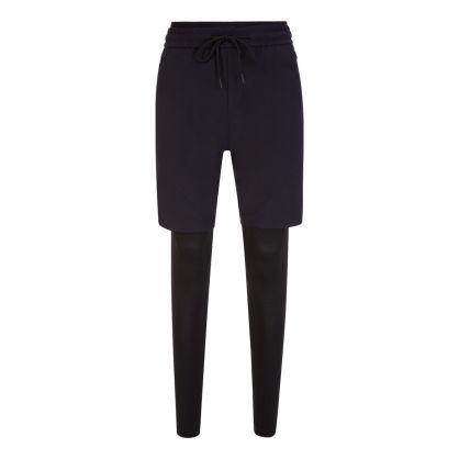Black Athleisure Slim-Fit Hybrid Running Leggings & Shorts