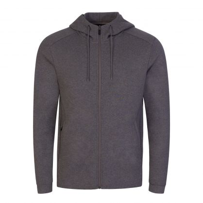 Medium Grey Saggy Hooded Zip-Through